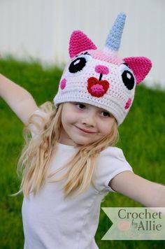 Items similar to Unikitty Hat, Lego Movie, Uni-kitty, Princess unikitty, Crochet By Allie original design on Etsy Lego Film, Lego Movie, Crochet Lego, Knitted Hats, Crochet Hats, Crochet Clothes, Pikachu Hat, Unicorn Costume, Amigurumi