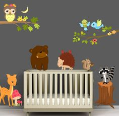 OH YEA ; FOREST ANIMALS  Reusable Forest Animal Nursery Scene with Branches - Fabric Wall Decal - Sized to Fit any wall. $80.00, via Etsy.