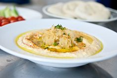 HUMMUS WITH CARAMELIZED ONIONS (no oil!)