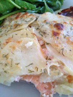 gratin ravioles poireaux et saumon - rachel et sa cuisine