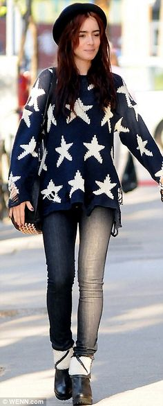 Lily Collins with a patriotic sense of fashion!
