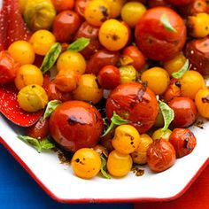 Save this roasting method in your recipe box—you can use it for any type of tomato. Serve with bread to dip in the vinegar mixture.