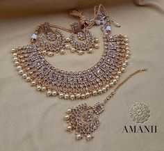 AMANI Crystal Collection: contemporary Jewellery sets - New Ideas Indian Bridal Jewelry Sets, Indian Jewelry Earrings, Fancy Jewellery, Wedding Jewelry Sets, Bridal Jewellery, Choker Necklaces, Silver Jewellery, Fashion Earrings, Cuff Bracelets