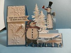 Stampin UP Christmas Card KIT Side Step Card Snowman | eBay
