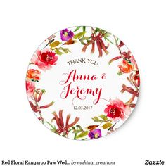 Red Floral Kangaroo Paw Wedding Sticker - Native Perfect for a garden or red wedding. Floral wreath with native Australian Flowers - Kangaroo paw