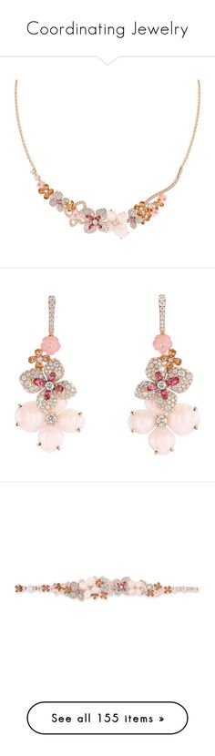 """""""Coordinating Jewelry"""" by thesassystewart on Polyvore featuring jewelry, necklaces, floral necklace, floral jewelry, pink diamond jewellery, adjustable necklace, round necklace, earrings, pink earrings and red gold jewelry"""