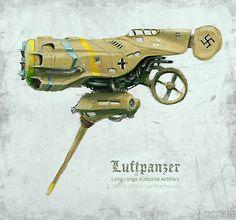 Luftpanzer by Luftpanzer Luftwaffe, Flying Vehicles, Spaceship Art, Concept Ships, Robot Concept Art, Steampunk Design, 3d Studio, Retro Futuristic, Aircraft Design