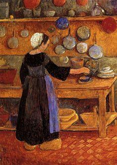Breton woman in the kitchen / Paul Sérusier (France Paul Gauguin, Impressionist Artists, Impressionism Art, Edouard Vuillard, Georges Seurat, Art Français, Caribbean Art, Academic Art, European Paintings