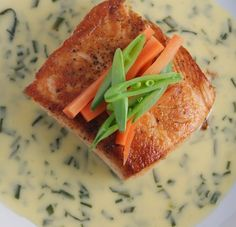 Delicious salmon with chive butter sauce