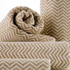 Herringbone Flax/Ivory Towels
