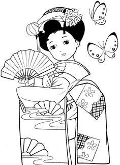 coloriage petites filles japonaises
