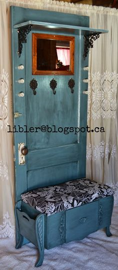 Turquoise Hall Tree Made Out of An Old Door turquoise hall tree made out of an old door, doors, painted furniture, repurposing upcycling Refurbished Furniture, Repurposed Furniture, Rustic Furniture, Furniture Makeover, Diy Furniture, Furniture Plans, Chair Makeover, Furniture Refinishing, Nursery Furniture