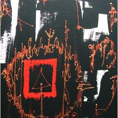 Abstract painting, black, white red copper and gold, 16 x 12 inches ($95) ❤ liked on Polyvore featuring home, home decor, wall art, gold painting, gold home decor, red and white wall art, copper wall art and abstract home decor