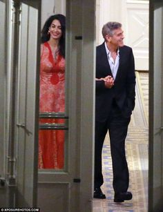 One of the locals: George and his wife enjoyed a joke with staff as they left the hotel a regular haunt for the Hollywood star during his stints in Italy Amal Clooney, George Clooney, Celebrity Red Carpet, Celebrity Style, Stella Mccartney Dresses, Partner Yoga, Beautiful Wife, Hollywood Star, Stunning Women