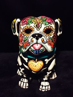 Day of the Dead Sugar Skull Bull Dog Statue Figurine Dia De Los Metros