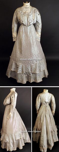 Afternoon dress ca. 1905. Gray silk brocade with a polka dot pattern. Bodice has gorgeous ivory lace, soutache braid, hem braid and brass and gudapercha(?). Gored skirt has appliquéd ruffle panels. Vintage Martini