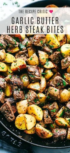 Steak bites marinated in garlic butter and herbs with potatoes is an all in one skillet dinner dish that your entire family will love, so hearty! dinner recipes Garlic Butter Herb Steak Bites with Potatoes Wallpaper Food, Baking Wallpaper, Easy Dinner Recipes, Easy Meals, Healthy Family Dinners, Healthy Steak Dinners, Best Dinner Recipes Ever, Steak Dinner Recipes, Beef Recipes