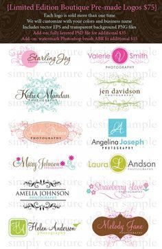 Pre-made boutique style logos
