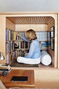 The Coziest Reading Nooks You've Ever Seen #refinery29  http://www.refinery29.com/design-milk/25#slide3  Remember this tiny reading nook tucked away in a 240-square foot, New York City apartment? Tim Seggerman made the most of every nook and cranny he could find in the Upper West Side studio.