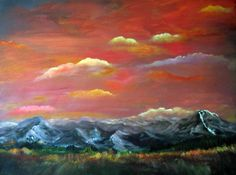 End of Days at the Tetons by Connie Grot #sunset #painting #artwork