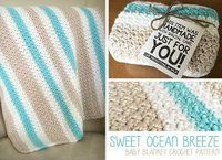 Sweet Ocean Breeze Baby Blanket -- Free Crochet Pattern by Little Monkeys Crochet -- A gorgeous baby blanket for your next baby shower gift. That new mama will love snuggling her precious newborn in this soft, special crochet blanket. Baby Afghan Crochet Patterns, Baby Blanket Crochet, Crochet Stitches, Crochet Blankets, Crochet Afghans, Chevron Blanket, Crochet Crafts, Crochet Projects, Free Crochet