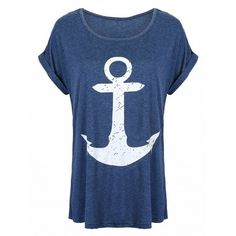 Choies Navy Anchor Print Roll-up Sleeve T-shirt (20 AUD) ❤ liked on Polyvore featuring tops, t-shirts, shirts, blue, blue t shirt, sleeve t shirt, anchor print top, roll top and navy blue top