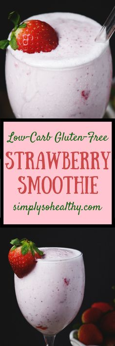 This Low-Carb Strawberry Smoothie makes a simple breakfast or snack. It can be part of a low-carb keto Atkins gluten-free grain-free or Banting diet. There is even a dairy-free option. Its pink color makes it perfect for a Valentines Day morning treat. Low Carb Drinks, Low Carb Smoothies, Smoothie Recipes, Oatmeal Smoothies, Fruit Smoothies, Fruit Recipes, Sugar Free Desserts, Low Carb Desserts, Eggs