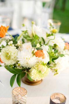 Gorgeous White & Orange Floral Centerpiece   Mikkel Paige