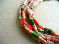 handmade long paper bead necklace.