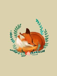 Sleeping fox Art Print by Kayla Phan | Society6 // This would be such a cute tattoo