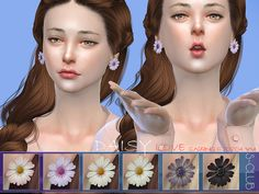 Earrings for girl, natural daisy flower style with 7 colors, spring is coming aready ~  Found in TSR Category 'Sims 4 Female Earrings'