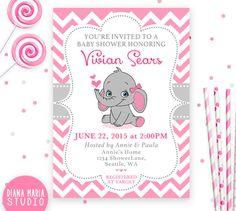 Elefante bebé ducha invitación invitación de ducha baby Pink