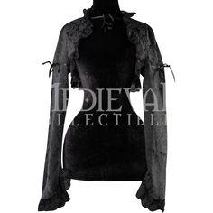 Black Brocade Bolero Jacket - DR-1290 by Medieval Collectibles