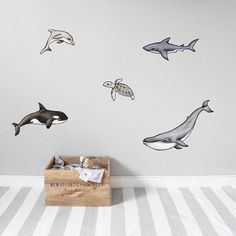Nursery wall stickers are the perfect solution to enhancing your kid's room or nursery décor! Read more about how to decorate with wall stickers. Painting Wallpaper, Wall Wallpaper, Wall Stickers Ocean, Thick Wallpaper, Scandinavian Wall Decor, Wall Transfers, Bonus Rooms, Beautiful Wall, Cool Walls