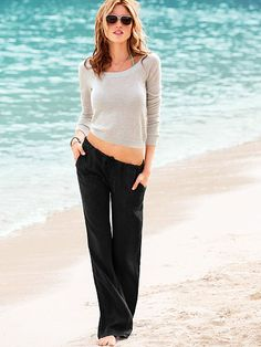 Black linen pants with neutral sweater - hello summer