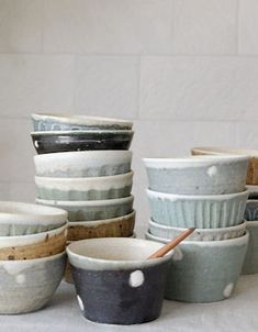 paper-clay: Lovely spotted handmade bowls.