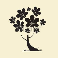 Abstract Vector Tree Silhouette with Chestnut Leaves Stock Vector
