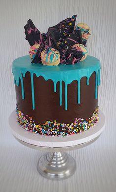 Chocolate Turquoise Drip Cake