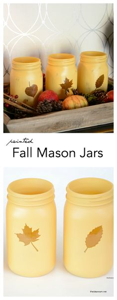 Looking for a simple fall craft that can add some fun and color to your fall decor? Make these painted mason jars for a quick and easy fall decoration. Fall-Decor-Mason-Jars-Craft theidearoom.net