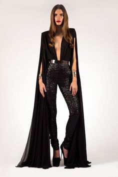 Cape Sleeve Jumpsuit-Fashion Statement for Glamorous Ladies – Designers Outfits Collection