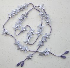 Grey Flower Embroidery Flower Crochet by jennysunny