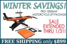 PRO 1200MAX Motorcycle Lift Package - SALE EXTENDED THRU 1/31/14