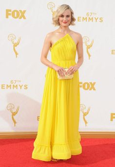 Emmys 2015: Best And Worst Dressed Stars On The Red Carpet BEST: Taylor Schilling in Stella McCartney Sunshine yellow is always a fun colour for the red carpet.