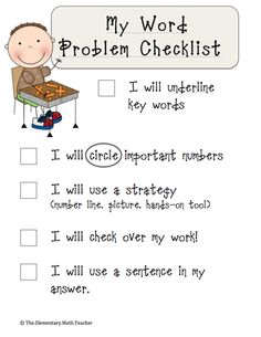 Here's a checklist for students to help them remember steps in solving a word problem.