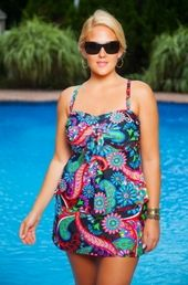 Colorful plus size tankini with skirt