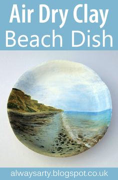 Hand painted air dry clay dish, beach scene - Always Arty