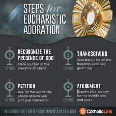 Today is a great day to visit our Lord present in the Blessed Sacrament. Here are 4 steps for Adoration, each one can last 15 minutes (for a Holy Hour) or you can divide it according to the time your visit lasts. A great way to pray before the Catholic Prayers, Adoration Catholic, Catholic Beliefs, Bible Prayers, Christianity, Faith Prayer, My Prayer, Holy Hour, Les Religions