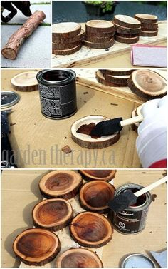 """So that's what I can do with those Pecan tree branches that always fall in the yard.\n\n Materials:\n  Straight branches that are no smaller than 3.5"""" in diameter\n Hand saw\n Sandpaper\n Clear Varnish"""
