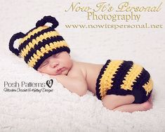 Crochet PATTERN Baby Bumble Bee Hat Diaper Cover von PoshPatterns, $6.95