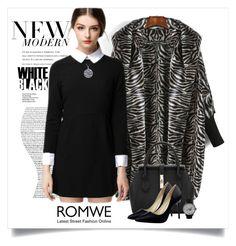 """Win Black Collar Dress with Romwe.com"" by elena-indolfi ❤ liked on Polyvore featuring blackandwhite, romwe, LittleBlackDress, zazzle and elenaindolfi"